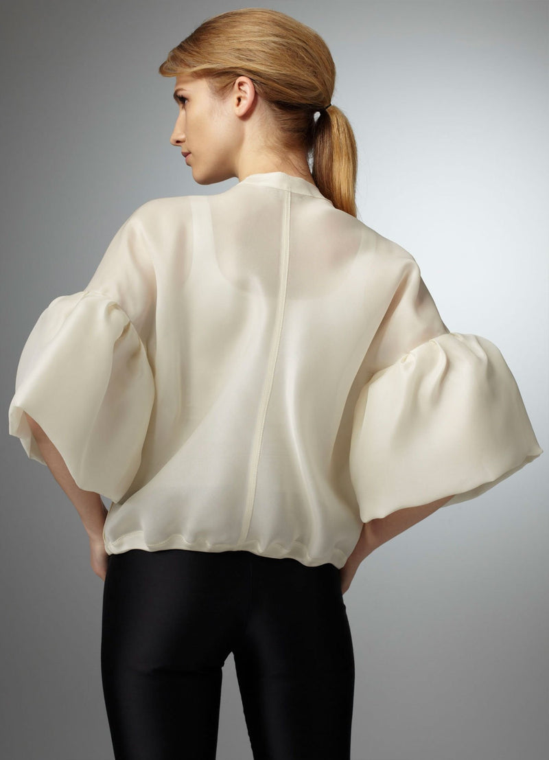 Back view model in Organza Bomber Jacket - Darby Scott