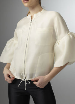 Model in Organza Bomber Jacket with front zipper - Darby Scott