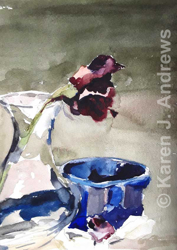 Rose and Blue Bowl