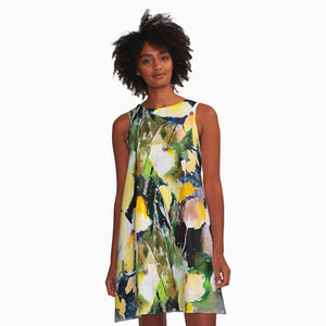 Round Yellow Leaves A-Line Dress