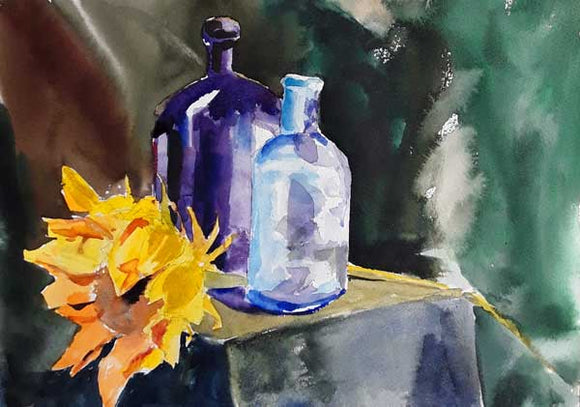 Sunflower and Bottles