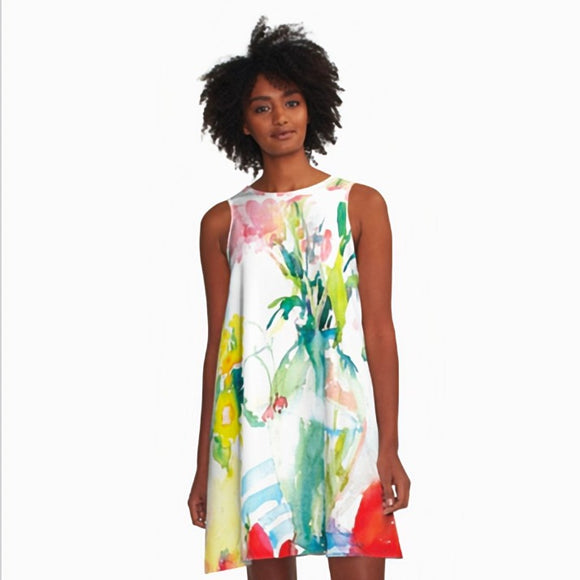 Watery Floral A-Line Dress