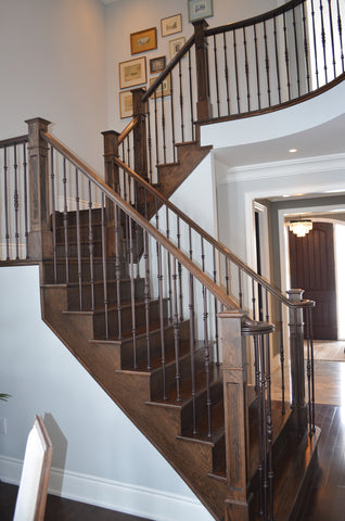 Stairs & Railings Ideal Railings - Wrought Iron and Dark Wood Stairs