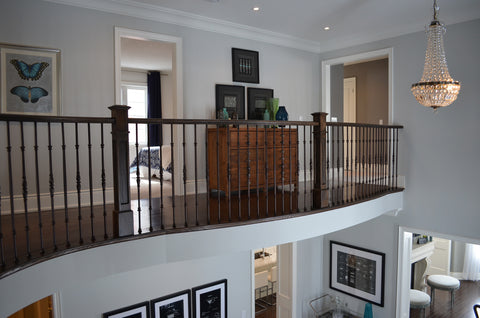 Stairs & Railings Ideal Railings - Dark Wood with Wrought Iron Pickets