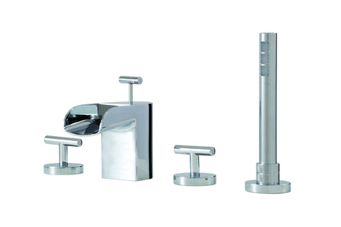 Love Me Aquabrass - 4 piece deckmount tub filler with handshower