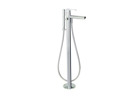 Cabrio Aquabrass - Floormount tub filler with handshower