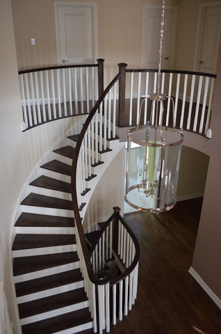 Stairs & Railings Ideal Railings - Dark Wood Railing with White Pickets