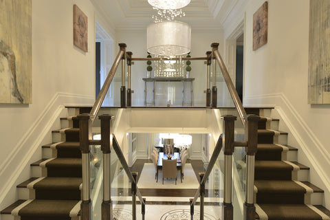 Stairs & Railings Ideal Railings - Brushed Steel Pillars with Glass Rails
