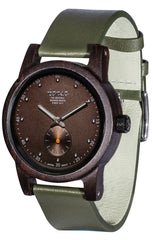 Tense Watches - Hampton North in Dark Sandalwood with an Olive Leather Strap