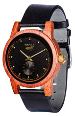 Tense Watches - Hampton North in Rosewood with a Black Leather Strap