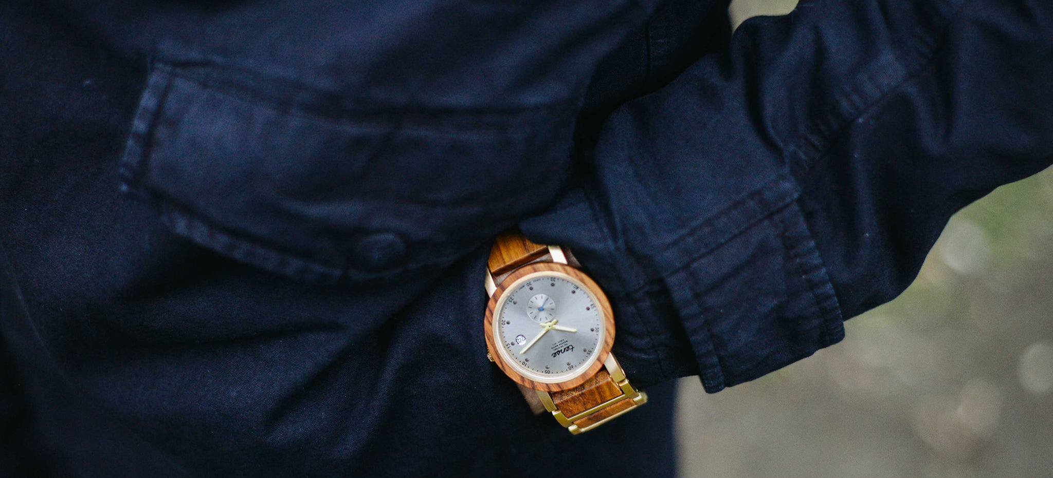 Tense Hudson Wood Watch in Teak Wood and Gold Stainless Steel