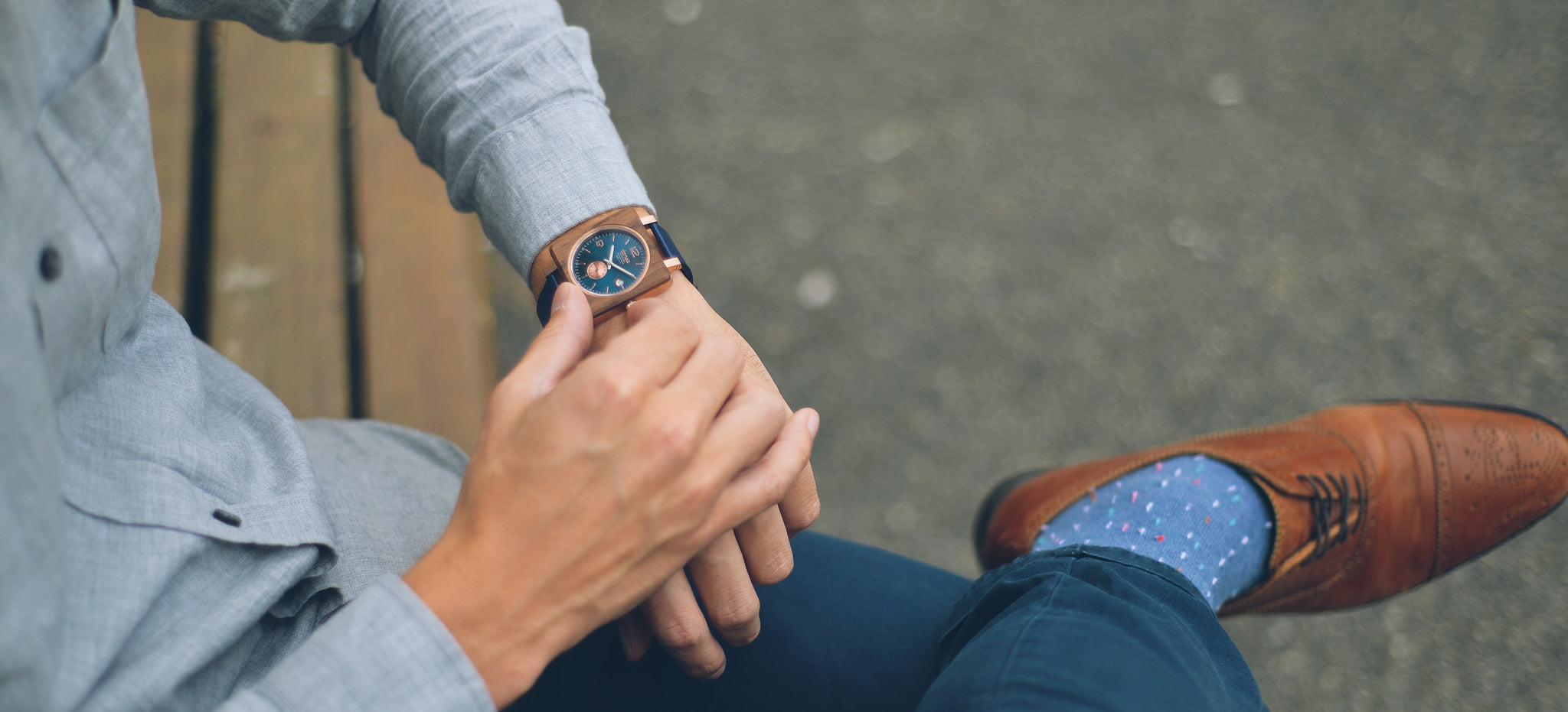 Tense Watches Vermont Leather Wood Watch