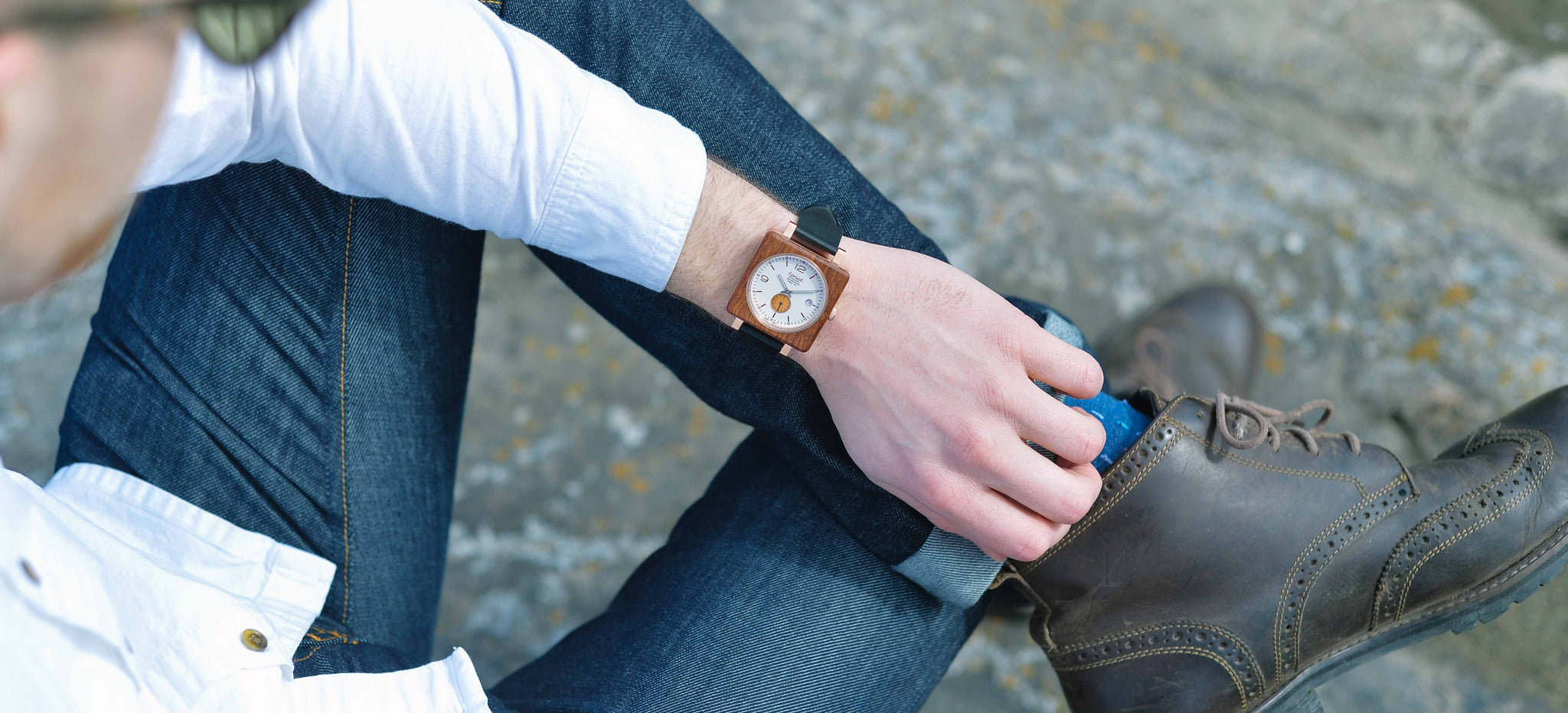 Tense Square Wood Watches - The Vermont Leather Watch