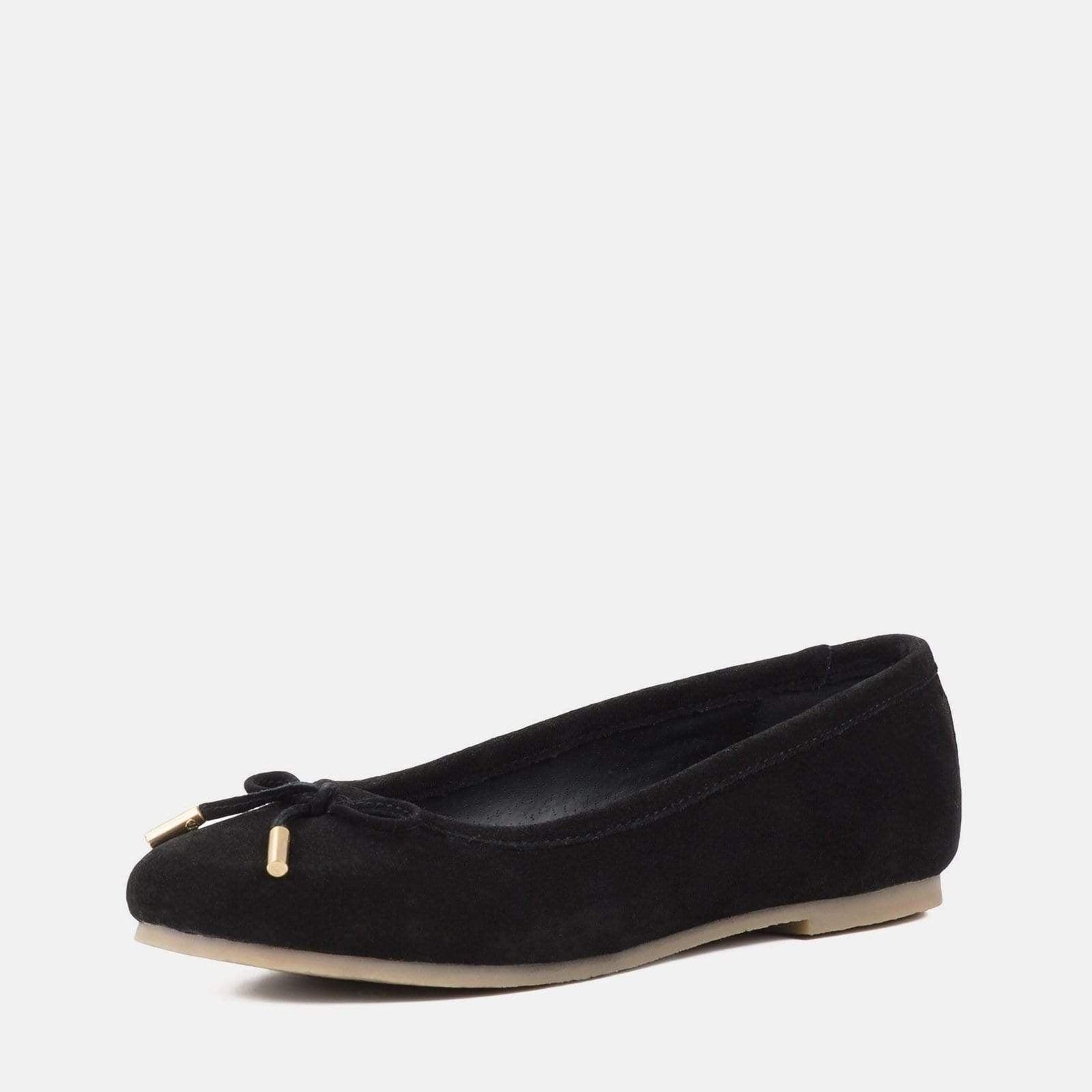 DARCEY BLACK SUEDE FLAT PUMPS