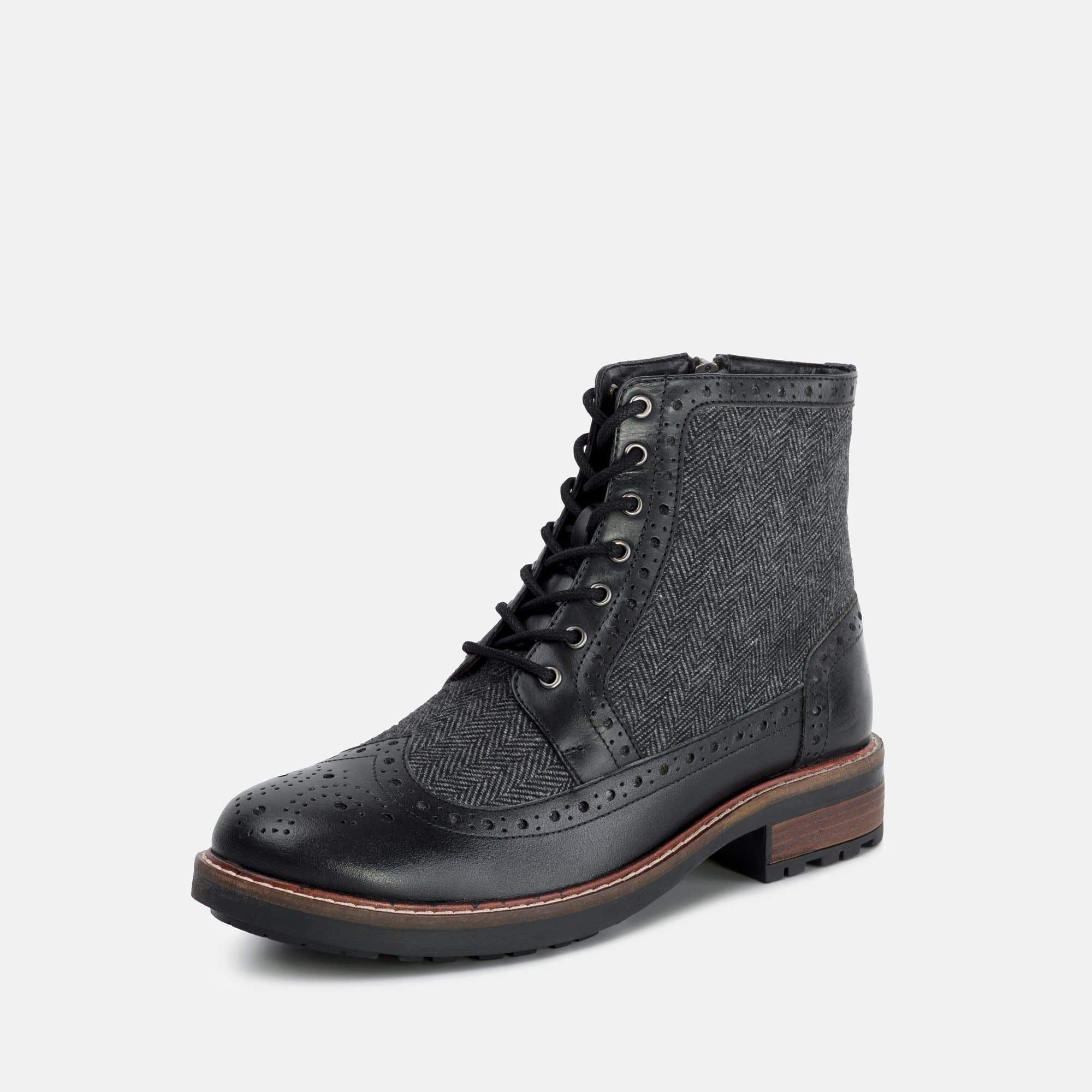 Redfoot Footwear MENS REDFOOT GRAY BLACK LEATHER TWILL BOOT