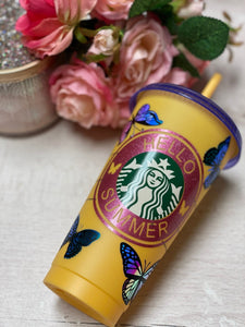 Hello Summer Butterfly ~ Personalized Custom Design Reusable Starbucks Cup