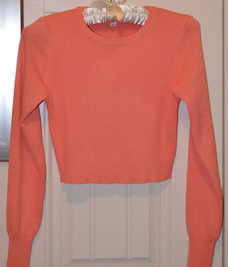 Coral Knit Long Sleeve Crop Top