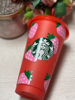 Pink Strawberry ~ Personalized Custom Design Reusable Starbucks Cup