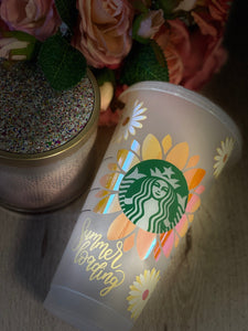Summer's Loading Sunflower ~ Personalized Custom Design Reusable Starbucks Cup