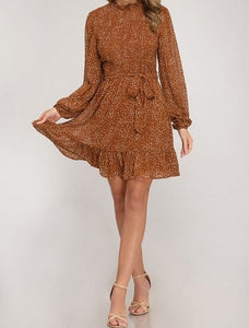 Cinnamon Leopard Print High Neck Long Sleeve Flowing Dress
