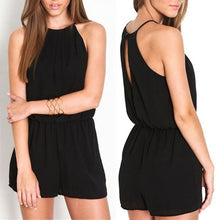 Summer Style Casual Black Halter Keyhole Rompers