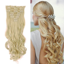 17inch 170g Curled Natural Synthetic Clip in hair Extensions 8Pc Ash Blonde