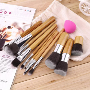 Makeup Eyeshadow Foundation Concealer 11pc Brushes Sets+ Sponge Blender