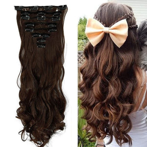 17inch 170g Curled Natural Synthetic Clip in hair Extensions 8Pc Medium brown