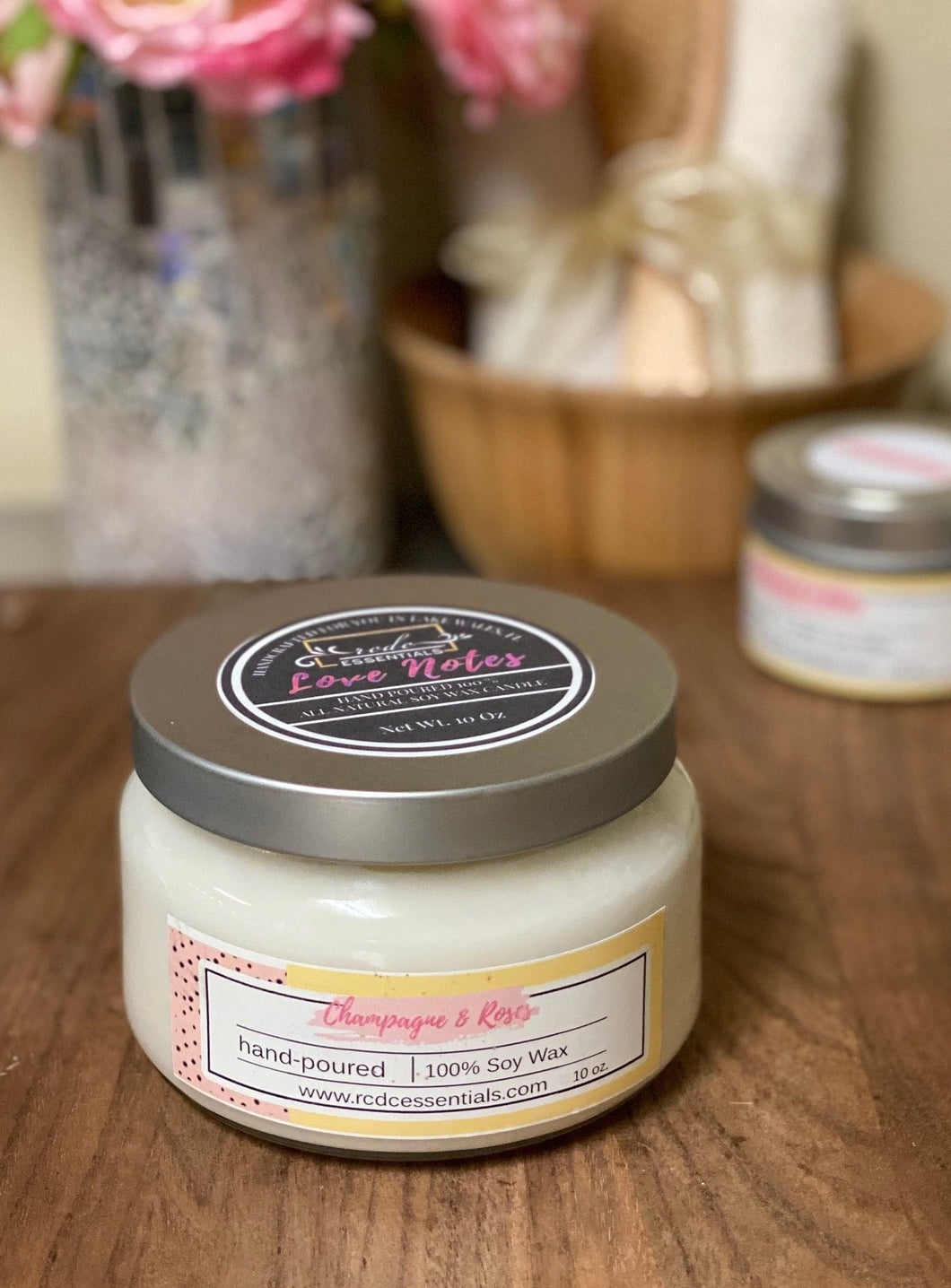Champagne & Roses ~ Natural Soy Wax Candle