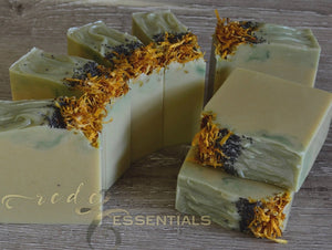 Rosemary Mint Infused~Handmade Artisan Cold Process Soap Topped with Marigold Petals & Poppy Seeds