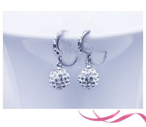 Pure silver full rhinestone ear buckle earrings fashion earring anti-allergic