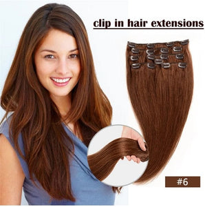 Straight Clip In Real Brazilian Human Hair Extension in Light Brown 6pcs 70g 18inches