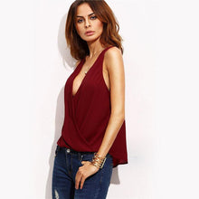 Burgundy Sleeveless Deep Plunge Front Wrap Cut Out Back Blouse