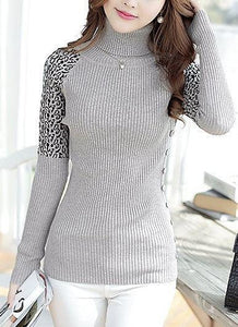 Autumn Turtleneck Cheetah Print Longsleeve Pull over Sweater