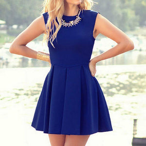 Cassie Sleeveless Inverted Pleat A Line Dress