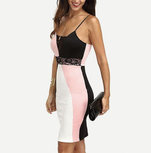 Colorblock Lace Detail Slip Dress