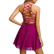 Hot Pink Cross Lace Back Spaghetti Strap A Line Mini Dress