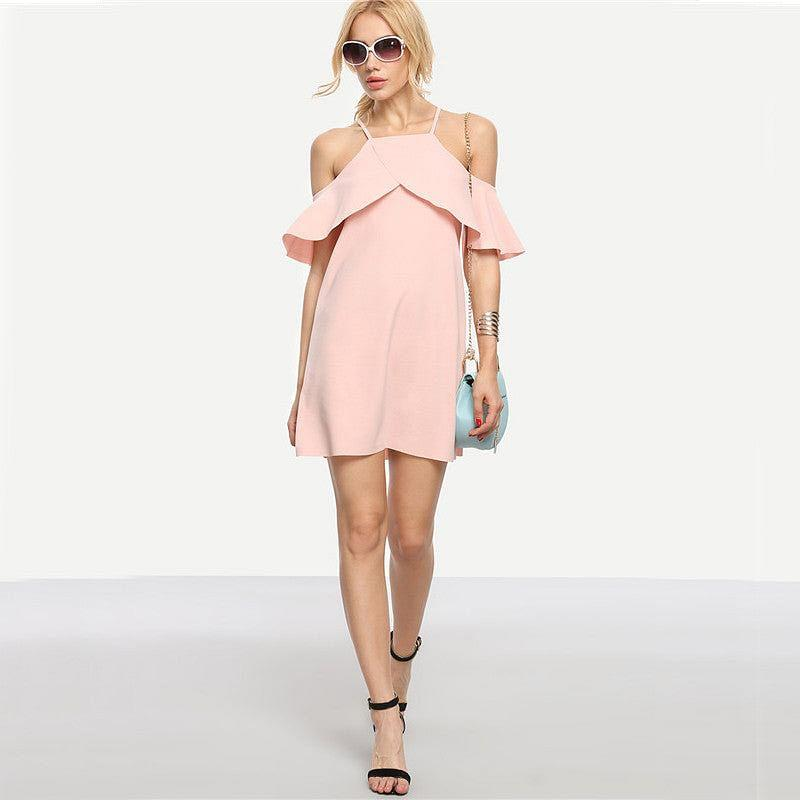 Pink Cold Shoulder Ruffle Sleeve Mini Dress
