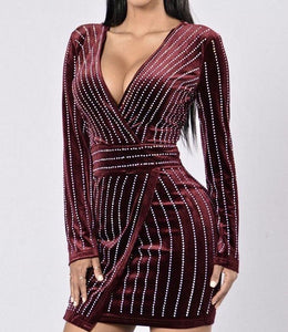Dripping In Diamonds Plunging V Neck Velvet Dress
