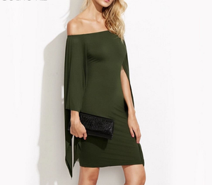Caped Olive Green Off The Shoulder Bodycon