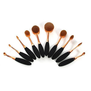 6Pc Rose Gold Mini Oval Shaped Makeup Brush Set