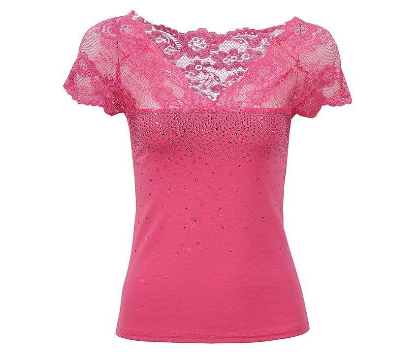 Lacey Sparkle Embellished V nevk Top