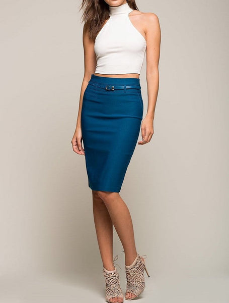 Belted Highwaist Pencil Skirt