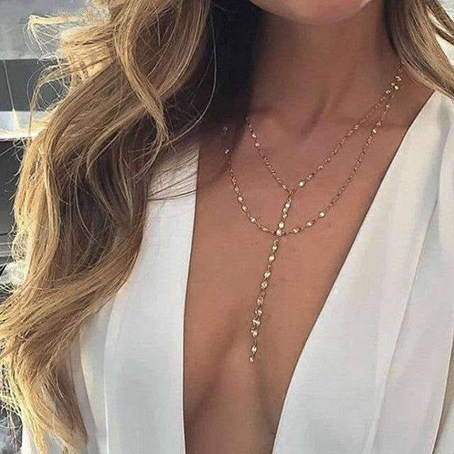 Gold Tone Rainbery Double Strand Lariat Necklace