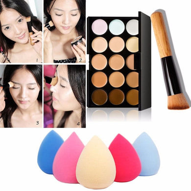 Cream Concealer 15 Color Palette/Water Sponge/Powder Brush