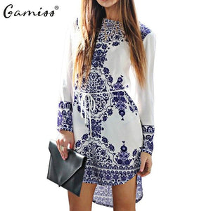 Gamiss Casual Long Sleeve Ethnic Print Mini Shirt Dress