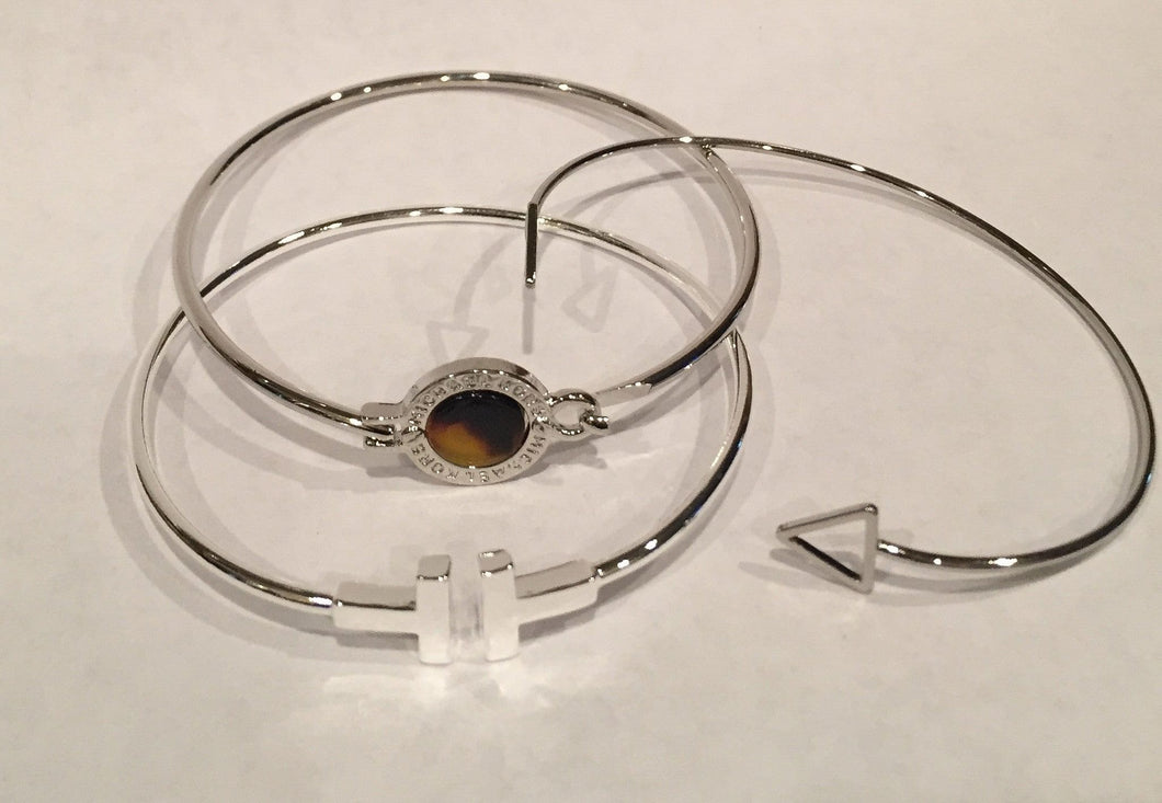 Zoey Silver Stackable fashion bracelet set of 3