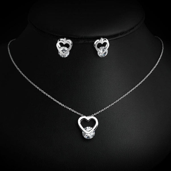 Spinning Cubic Zirconia Heart Shaped Necklace/Earring Set