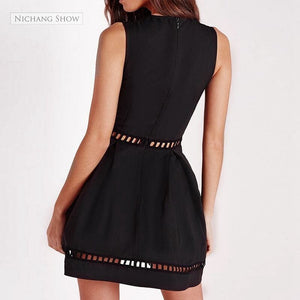 Vixen In Black Deep Plunge V-neck Eyelet Dress