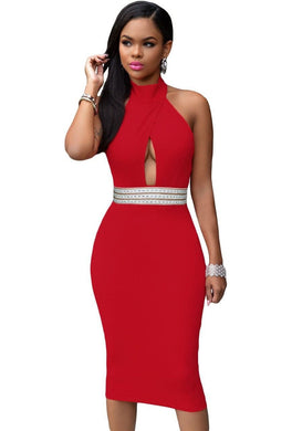 Chantell Embellished waist Halter Dress